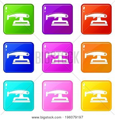 Fret saw icons of 9 color set isolated vector illustration