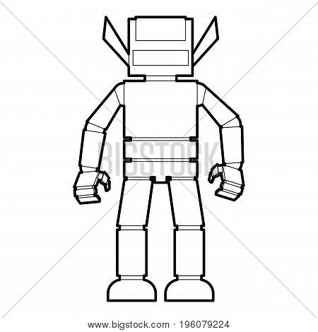 Humanoid robot icon in outline style isolated on white vector illustration