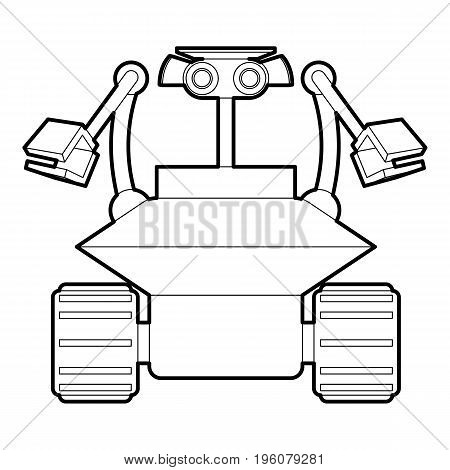 Robot collector icon in outline style isolated on white vector illustration