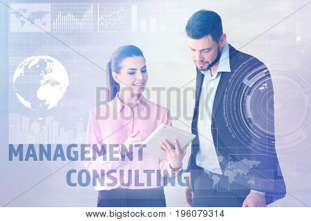 Concept of management consulting. People discussing business strategy in office