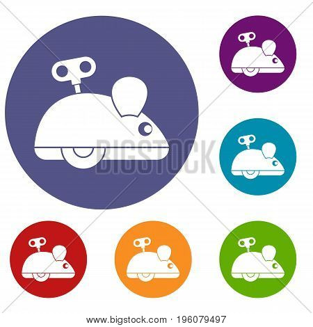 Clockwork mouse icons set in flat circle red, blue and green color for web
