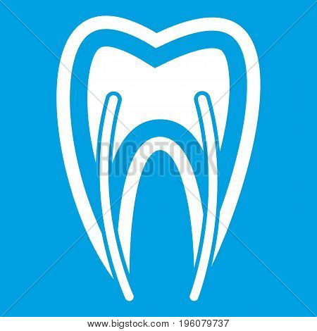Tooth cross section icon white isolated on blue background vector illustration