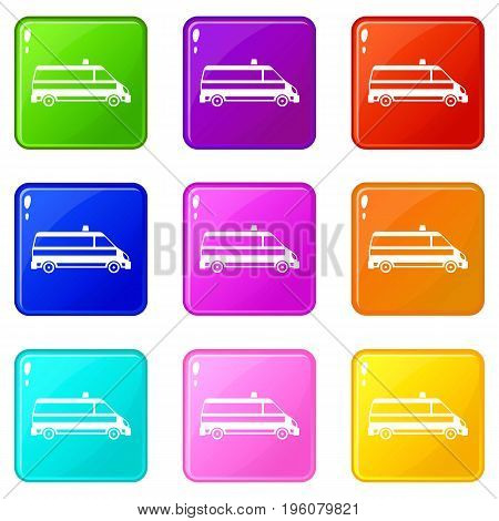 Ambulance car icons of 9 color set isolated vector illustration