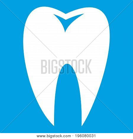 Tooth icon white isolated on blue background vector illustration