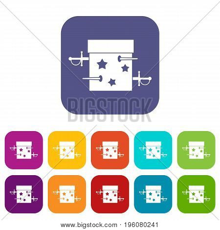 Sword box illusion icons set vector illustration in flat style in colors red, blue, green, and other