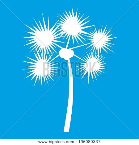 Spiny tropical palm tree icon white isolated on blue background vector illustration