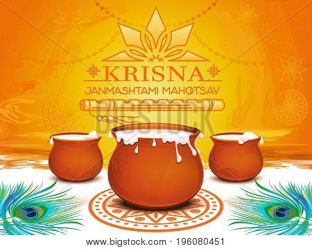 Krishna Janmashtami Mahotsav. Annual Hindu Indian festival. Celebrating the Birthday of Krishna. Bright colorful background for the design of leaflets, posters and greeting cards. Vector illustration