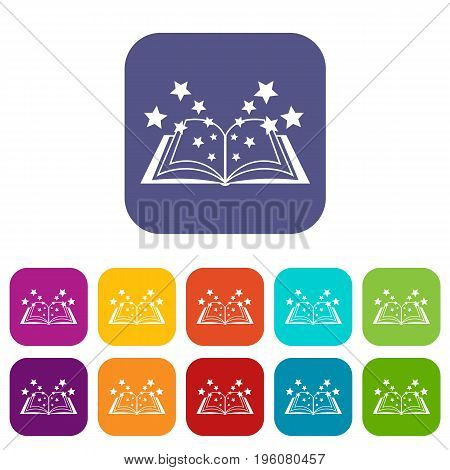 Magic book icons set vector illustration in flat style in colors red, blue, green, and other