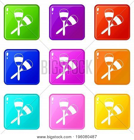 Maracas icons of 9 color set isolated vector illustration