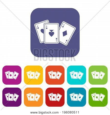 Playing cards icons set vector illustration in flat style in colors red, blue, green, and other