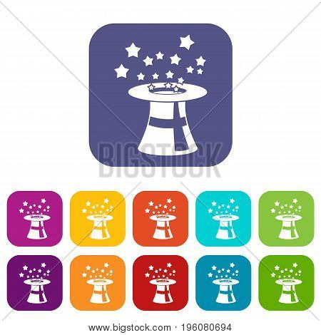 Magic hat with stars icons set vector illustration in flat style in colors red, blue, green, and other