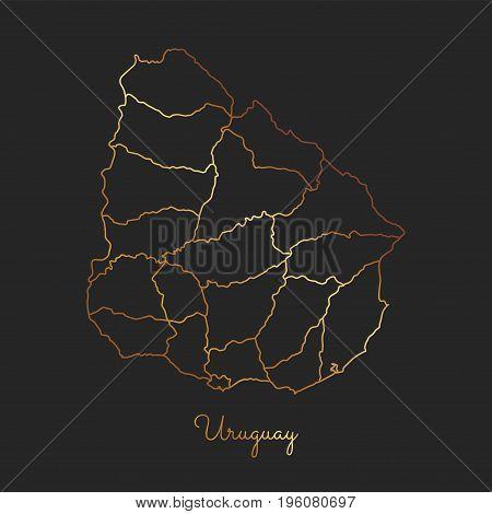 Uruguay Region Map: Golden Gradient Outline On Dark Background. Detailed Map Of Uruguay Regions. Vec