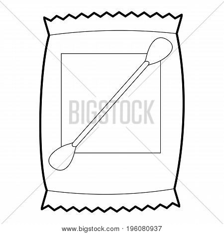 Cotton bud icon in outline style isolated on white vector illustration