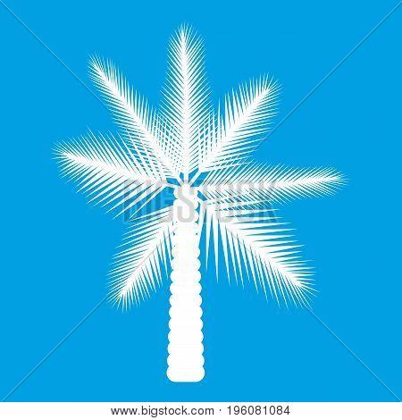 Big palm tree icon white isolated on blue background vector illustration