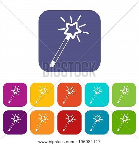 Magic wand icons set vector illustration in flat style in colors red, blue, green, and other