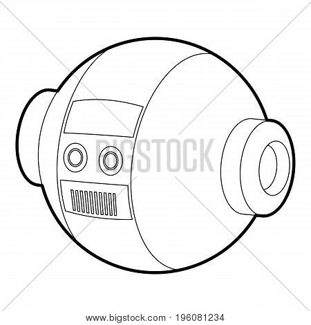 Robotic ball icon in outline style isolated on white vector illustration