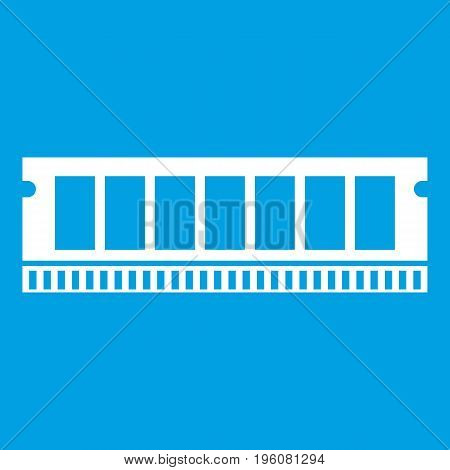 DVD RAM module for the personal computer icon white isolated on blue background vector illustration
