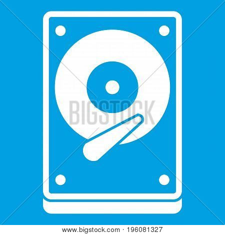 HDD icon white isolated on blue background vector illustration