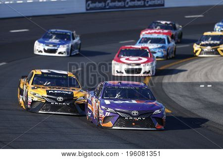 July 16, 2017 - Loudon, NH, USA: Denny Hamlin (11)  battles for position during the Overton's 301 at New Hampshire Motor Speedway in Loudon, NH.