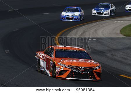 July 16, 2017 - Loudon, NH, USA: Daniel Suarez (19)  battles for position during the Overton's 301 at New Hampshire Motor Speedway in Loudon, NH.