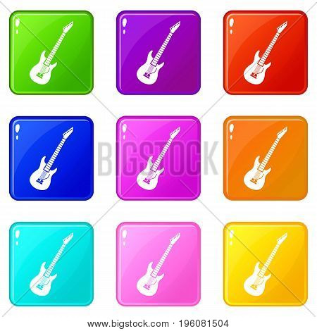 Electric guitar icons of 9 color set isolated vector illustration
