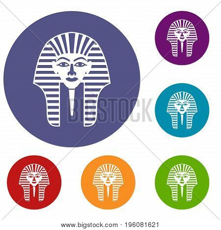 Tutankhamen mask icons set in flat circle red, blue and green color for web