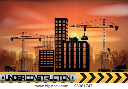 Vector illustration of Construction site with buildings and cranes