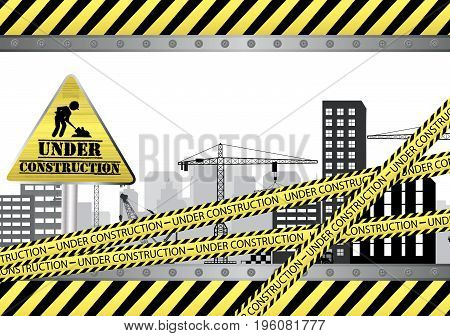 Vector illustration of Under construction site on city background