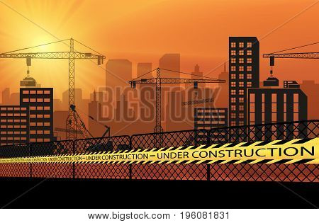 Vector illustration of Buildings with cranes and under construction caution barrier tapes