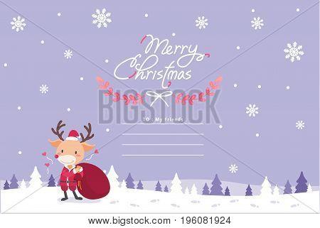 Cute Christmas deer character vector illustration.  Christmas concept vector illustration.