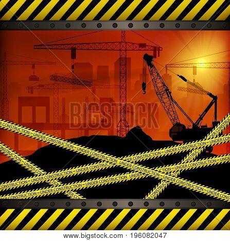 Vector illustration of Construction crane at sunset background