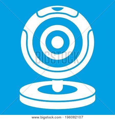 Webcam icon white isolated on blue background vector illustration
