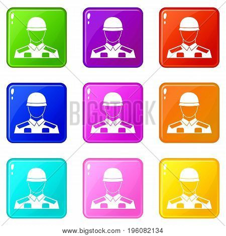 Soldier icons of 9 color set isolated vector illustration
