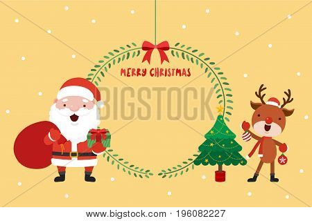 Santa and Reindeer with tree. Christmas concept vector illustration.