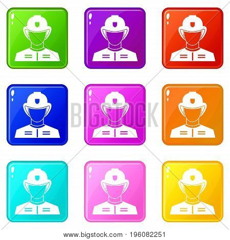 Firefighter icons of 9 color set isolated vector illustration