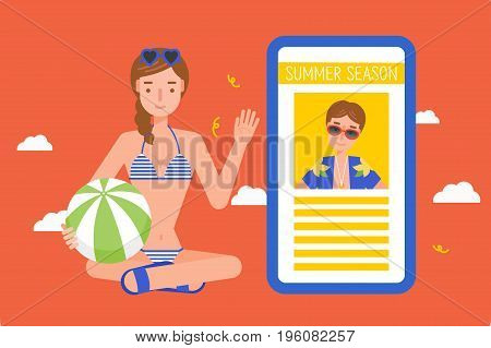 young woman wearing swimsuit with smartphone. Flat design.