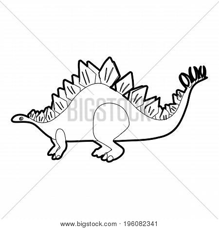 Stegosaurus icon in outline style isolated on white vector illustration