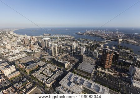 Aerial view of streets, buildings and coastline in Long Beach, California.