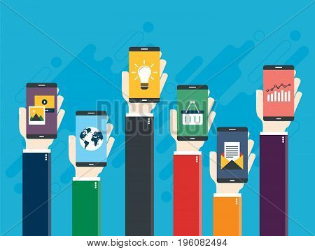 Vector illustration of raised hands holding smart phones with icons of e-commerce chart finance e-mail photo and video map of world and lamp. Concepts marketing business and communications.