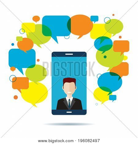 Smart phone with businessman on video conference on screen and text message speech bubble. Mobile chat concept communication and business wireless technology and teamwork network.