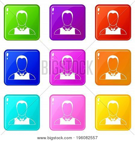Waiter icons of 9 color set isolated vector illustration