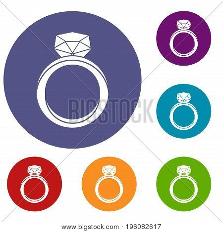 Wedding ring icons set in flat circle red, blue and green color for web