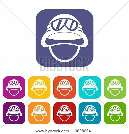 Military metal helmet icons set vector illustration in flat style in colors red, blue, green, and other