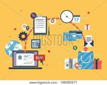 Online Shopping. E-commerce In Internet.