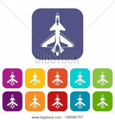 Military fighter jet icons set vector illustration in flat style in colors red, blue, green, and other