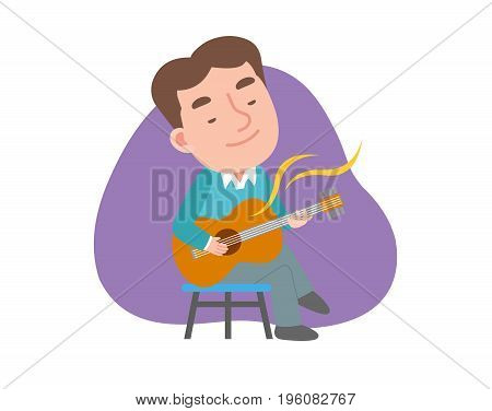 The man playing the guitar. vector illustration.