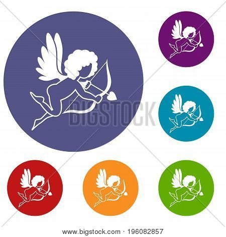 Love Cupid icons set in flat circle red, blue and green color for web