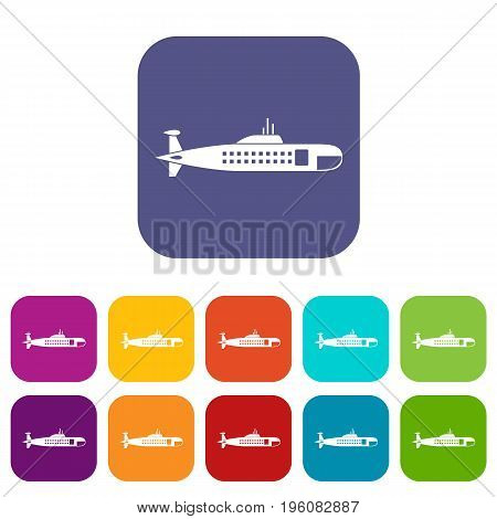 Military submarine icons set vector illustration in flat style in colors red, blue, green, and other