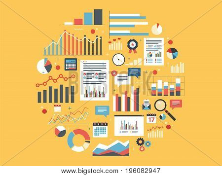 Chart with statistics and data statistic analytics and growth report. Icons in vector illustration of calculator chart magnifying glass and calendar. Concepts finance business and strategy.