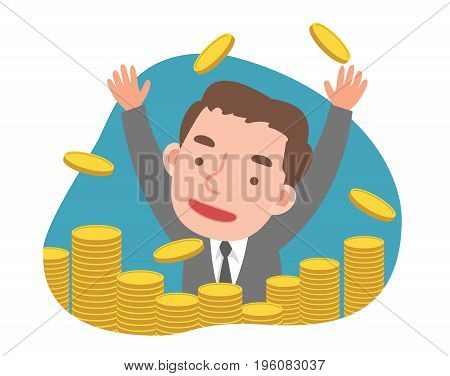 Businessman with a Lot of Gold Coins. Vector Illustration